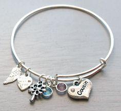 Personalized Adjustable Bangle Bracelet - Cousin Gift