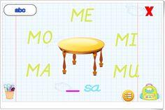"""""""Sílabas"""" es un juego, de aprenderjugando.cl, en el que, completando palabras sencillas, se inicia a los niños en el conocimiento de las sílabas."""
