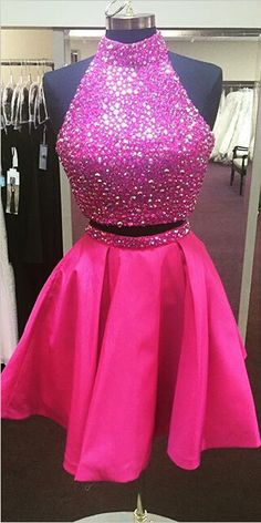 2016 short homecoming dresses, two piece homecoming dresses, rose pink homecoming dresses, cheap homecoming dresses, sparky homecoming dresses, open back homecoming dress
