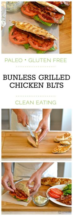 Bunless Paleo Chicken BLTs (with a seriously delicious basil mayo!) | eMeals Paleo Recipes, Low Carb Recipes, Cooking Recipes, Cooking Ideas, Low Carb Diet, Paleo Diet, Diet Foods, Paleo Mayo, Paleo Food