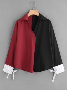 Casual Colorblock Top Oversized Collar and V neck Long Sleeve Multicolor Color Block Contrast Cuff Tie Blouse Stylish Dress Designs, Stylish Dresses, Girl Fashion, Fashion Outfits, Dress Shirts For Women, Casual Tops For Women, Tie Blouse, Blouse Online, Muslim Fashion