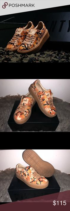 FENTY Puma Creepers Camo Orange Great condition. ONLY $95 IF YOU BUY ON CASH APP. Puma Shoes Sneakers