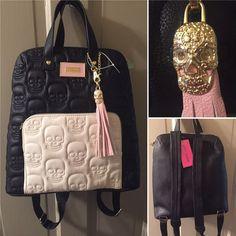 NEW! Betsey Johnson Backpack Tote Bag Black White SKULLS Purse Pink Skull Tassel   Clothing, Shoes & Accessories, Women's Handbags & Bags, Backpacks & Bookbags   eBay!