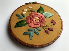 "Embroidery Hoop Art, Home Wall Decor, Rose Floral Design 4"" Stained Hoop Embroidered"