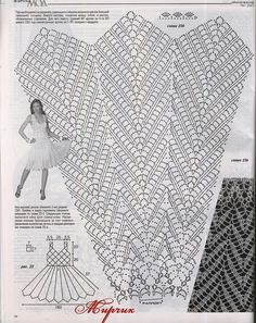 """Crochet Skirts Assign a white dress Description of """"fashion magazine"""" № 567 2013 г. Dress connected hook № 500 g of white cotton yarn m * 100 g). Size How to connect crochet dress Crochet Diagram, Crochet Chart, Filet Crochet, Irish Crochet, Crochet Stitches, Crochet Patterns, Black Crochet Dress, Crochet Skirts, Crochet Fabric"""
