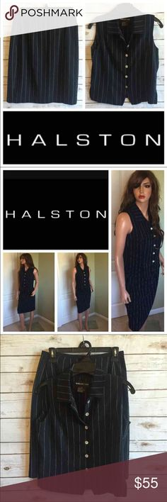 """Vintage HALSTON Pinstripe Skirt Suit Set Vintage HALSTON Pinstripe Skirt Suit Set Timeless  When I was a little girl I used to dream of being a business woman wearing a suit exactly like this while flying through the airport with my Louis Vuitton. LOL  Dream came true :)  Dark Navy Size 8 Length of skirt is 22"""" Waist 14"""" Top is 25"""" long Bust 18"""" Skirt lined/top is light and not lined  Thank you for looking and please check out the rest of my closet. Halston Skirts Skirt Sets"""