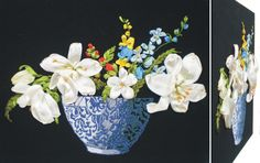 FLOWERS IN BLUE VASE 3D Ribbon embroidery on printed canvas with back woodden frame size: cm. 35x35 Price: € 140,00 $ code: P019
