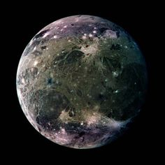 This is an image of Ganymede, one of the moons of Jupiter. Discovered by Galileo Galilei in 1610, it orbits Jupiter around every seven days and is the largest moon in the Solar System.