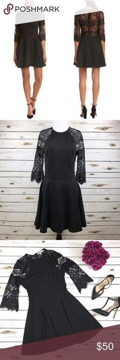 83c9fd20d1 BB Dakota Black Lace 3 4 Sleeve Fit Flare Dress Princeton Ponte Knit  Excellent condition