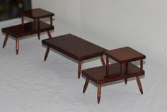 3 Mid Century Doll House Furniture 2 Night Stands Coffee Table Miniature | eBay