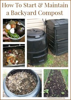 to Start amp; Maintain a Backyard Compost How to Start amp; Maintain a Backyard Compost How To Start Composting, Making A Compost Bin, How To Make Compost, Composting At Home, Worm Composting, Diy Compost Bin, Diy Compost Tumbler, Urban Composting, Gardens