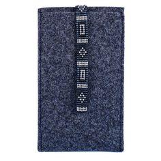 Tolle Smartphone-Hülle aus Wollfilz, mit Glasperlen-Verschlussband. In vielen Farben und Größen im Shop