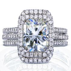 Annello 14k White Gold Radiant-cut Moissanite and 5/8ct TDW Diamond Halo Bridal Set (G-H, I1-I2) - Overstock Shopping - The Best Prices on Annello Moissanite Rings