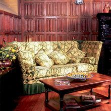 The Knole Settee - Based on the original example at Knole House, upholstered in Heraldic Beasts, specially designed and made to order by Stuart Interiors Knole Sofa, Oak Panels, Rococo Style, Best Sofa, Furniture Upholstery, Interior Design, Manor Homes, Oak Chairs, Kent England