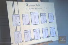 Plan de table - Blanc, crème, argenté les pierres précieuses http://www.mainsetmerveillesdeco.fr/mariage-blanc-creme-argente-rose/