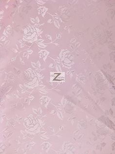 """Floral Rose Jacquard Satin Fabric - LIGHT PINK - 60"""" Width Sold By The Yard"""