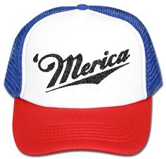 'Merica Red White And Blue Trucker Hat Adjustable One Size Fits All.