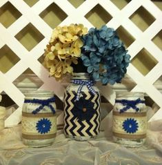 Distressed Mason Jars  Denim and Lattice  by ElsiesCreativeDesign