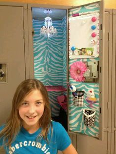 My niece Maddie with cool locker decor;-)
