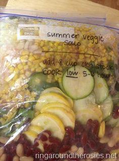 Summer Veggie Soup (freezer Meals) - great vegetarian dish, or add in turkey meatballs! summer veggies, freezer meals vegetarian, turkey meatballs, freezermeals3255b7255djpg imag, food, freezer recipes, freezer cooking, freezer vegetarian meals, veggie soup