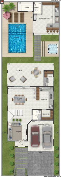 Pinterest: @claudiagabg | Casa 2 pisos 4 cuartos 1 estudio piscina / planta 1