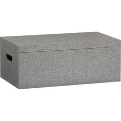 """Grey Felt Storage Box Viscose/wool Composite wood frame. Width: 20"""" Depth: 11.5"""" Height: 8"""". it's silly to get excited about a box but this box stores magazines perfectly, and looks great -will get a few more to hide away cables, etc."""