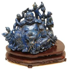 CHINESE CARVED LAPIS LAZULI HAPPY BUDDHA GROUP