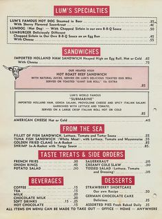 Menu from Lum's Restaurant by The Pie Shops Collection, via Flickr