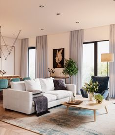 interior design by Design Filosofia. The colors are so nice and calm without loosing the space's personality Home Decor Styles, Open Plan Living Room, Home Decor, Living Room Decor Modern, Living Room Inspiration, Home Interior Design, Contemporary Furniture Design, Living Decor, Loft Style Furniture