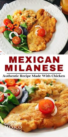 Chicken Milanese Mexicana, a meal crispy and golden treat for your dinner. A popular midday meal or dinner all over Mexico. This traditional Mexican meal is ready in 30 minutes or less, serve with a side of Mexican red rice, a salad with a few slices of avocado, some warm corn tortillas, and spicy homemade salsa. Mexican Chicken Recipes, Mexican Cooking, Turkey Recipes, Pork Recipes, Milanese Recipe, Chicken Milanese, Mexico Food, Milanesa, Homemade Salsa