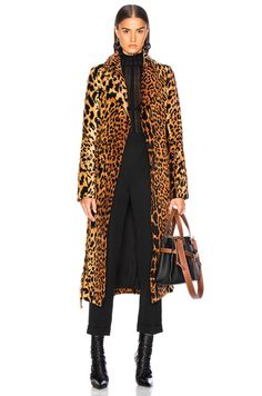 Shop for Victoria Beckham Tiger Chenille Jacquard Split Sleeve Fitted Coat in Orange & Brown at FWRD. Victoria Beckham, Kylie Lips, Chenille, Orange Brown, Duster Coat, Autumn Fashion, Fitness, Sleeves, Jackets