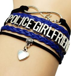 Fashion Infinity Love Police Girl Bracelet Police Department Bracelet Gift for Policeman Jewelry