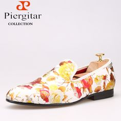 Piergitar Chinese style Printing flowers Men Cloth shoes Men Wedding and  Party Loafers Men s Flats Size bb64ba73045b