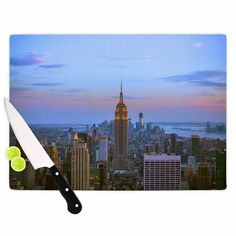 "Juan Paolo ""Empire State Of Mind"" Blue Multicolor Cutting Board"