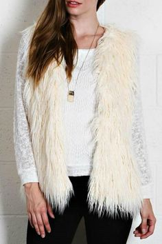 Fur vests can be paired with anything! Wear this creamy white vest and bundle up for cold weather.  Creamy Fur Vest by A. Peach. Clothing - Jackets Coats & Blazers - Vests Georgia