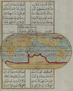 "A world map from ""Kitab-ı Bahriye"", written by Piri Reis in the 16th century as a gift to Ottoman Sultan Süleyman."