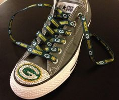 Hey, I found this really awesome Etsy listing at http://www.etsy.com/listing/129749318/green-bay-packers-blinged-converse-shoes