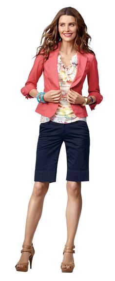 Spring 2014 outfit : CAbi--jacket/blazer with bermuda shorts and heels.  Great way to wear shorts over 40