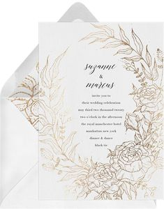 wedding invitations white A elegant and romantic design of an enchanted hand drawn botanical scene. Finished with foil detail for glamor and a whimsical style. Create Invitations, Online Invitations, Gold Wedding Invitations, Elegant Invitations, Digital Invitations, Invitation Paper, Invites, Timeless Wedding, Elegant Wedding