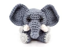 Free crochet amigurumi pattern for a cute little elephant Crochet Amigurumi Free Patterns, Crochet Toys, Free Crochet, Crochet Christmas Ornaments, Cute Mouse, Little Elephant, Crochet Cardigan, Crochet For Kids, Crochet Flowers