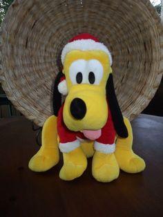 "DISNEY 15"" SANTA'S HELPER PLUTO PLUSH STUFFED DOG CHRISTMAS 2010 RED COLLECTIBLE #Disney"