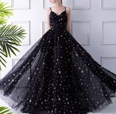 Beautiful black dresses - Tight Prom Dresses, Black dress with silver stars tulle prom gown – Beautiful black dresses Tight Prom Dresses, Unique Prom Dresses, Black Prom Dresses, Tulle Prom Dress, Elegant Dresses, Homecoming Dresses, Dress Up, Formal Dresses, Sexy Dresses