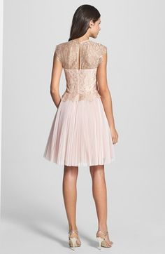 Ted Baker London 'Remma' Metallic Lace Overlay Fit & Flare Dress | Nordstrom