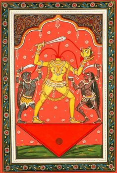 """jayalalita: """" The goddess Chinnamasta, beheading herself, and in this act of willful self destruction, nourishes herself and her cohorts on her own blood. Maa Image, Spiritual Paintings, Kali Goddess, Hindu Deities, Hinduism, Divine Mother, Indian Artist, Hindu Art, Indian Gods"""