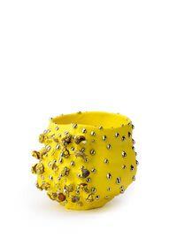 Yellow-slipped Platinum-drips Stone-burst bowl