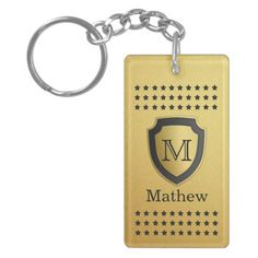 Black Gold Shield Monogram Name Star Pattern Manly Double-Sided Rectangular Acrylic Keychain