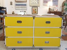 #Vintage #YellowAndWhite 70s #Laminate #CampaignDresser -Click On Link For All Info Campaign Dresser, Mid Century Modern Furniture, Filing Cabinet, Mid-century Modern, Storage, Link, Vintage, Inspiration, Home Decor