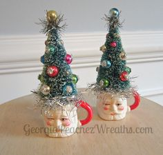 Image of Pair of Miniature Santa Mugs with Trees Antique Christmas Decorations, Vintage Christmas Crafts, Christmas Yard Art, Christmas Centerpieces, Diy Christmas Ornaments, Christmas Projects, Holiday Crafts, Vintage Ornaments, Christmas Trees