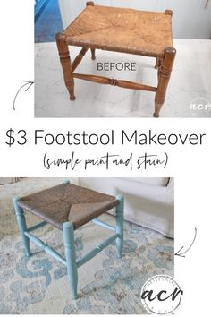This $3 rush footstool from the ReStore got a brand new look! Simple with paint and stain. artsychicksrule.com Driftwood Stain, Mineral Paint, Pouf Ottoman, Hello Beautiful, Restore, Painted Furniture, Thrifting, Repurposed, Restoration