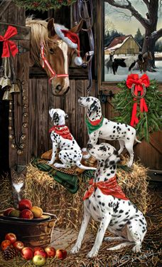 """New for 2015!  Dalmatian Christmas cards are 8 1/2"""" x 5 1/2"""" and come in packages of 12 cards. One design per package. All designs include envelopes, your personal message, and choice of greeting.Select your inside greeting from the menu below.Add your personal message to the Comments box during checkout."""